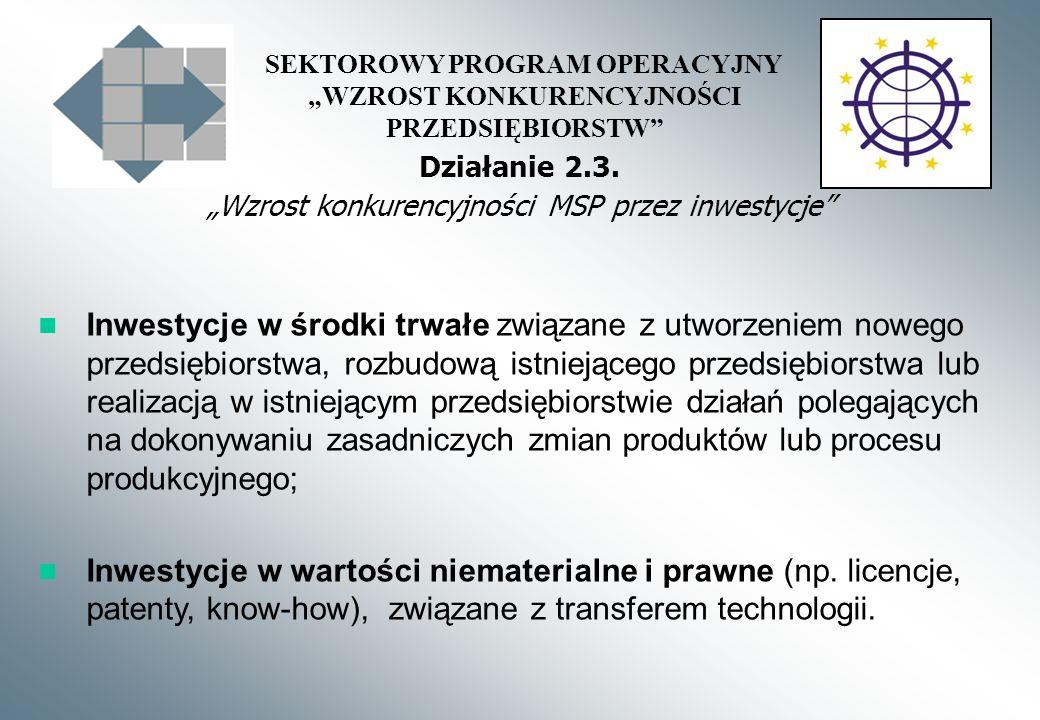 SEKTOROWY PROGRAM OPERACYJNY WZROST KONKURENCYJNOŚCI PRZEDSIĘBIORSTW Działanie 2.3.