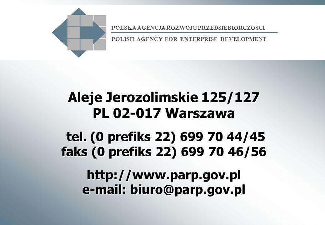 Aleje Jerozolimskie 125/127 PL 02-017 Warszawa tel. (0 prefiks 22) 699 70 44/45 faks (0 prefiks 22) 699 70 46/56 http://www.parp.gov.pl e-mail: biuro@
