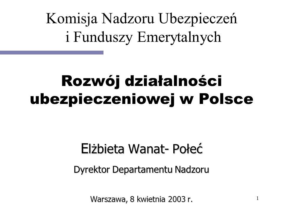 1 E lżbieta Wanat- Połeć Dyrektor Departamentu Nadzoru Warszawa, 8 kwietnia 2003 r. Rozwój działalności ubezpieczeniowej w Polsce Komisja Nadzoru Ubez