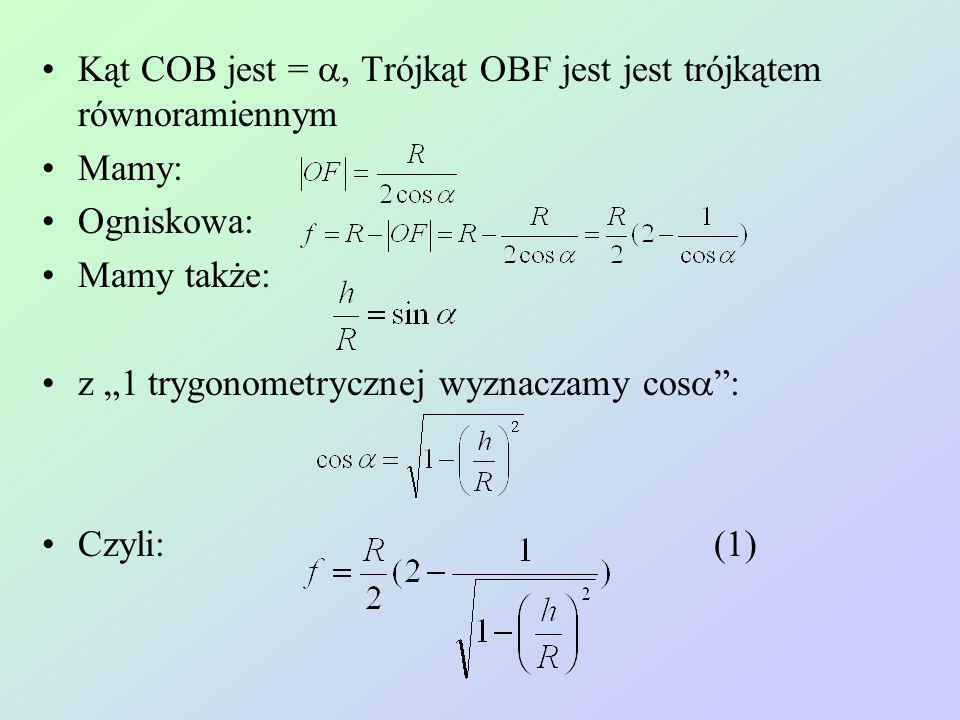 Kąt COB jest = Trójkąt OBF jest jest trójkątem równoramiennym Mamy: Ogniskowa: Mamy także: z 1 trygonometrycznej wyznaczamy cos : Czyli: (1)