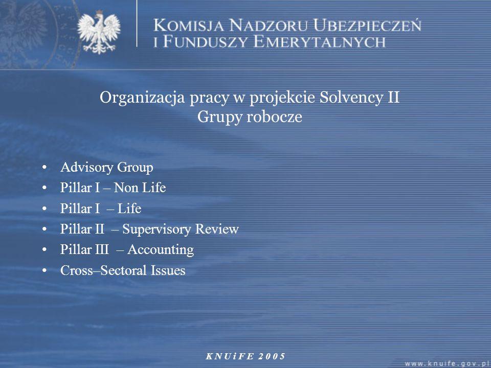 K N U i F E 2 0 0 5 Organizacja pracy w projekcie Solvency II Grupy robocze Advisory Group Pillar I – Non Life Pillar I – Life Pillar II – Supervisory