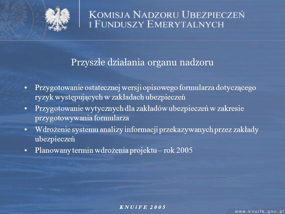 K N U i F E 2 0 0 5 Przyszłe działania organu nadzoru Przygotowanie ostatecznej wersji opisowego formularza dotyczącego ryzyk występujących w zakładac