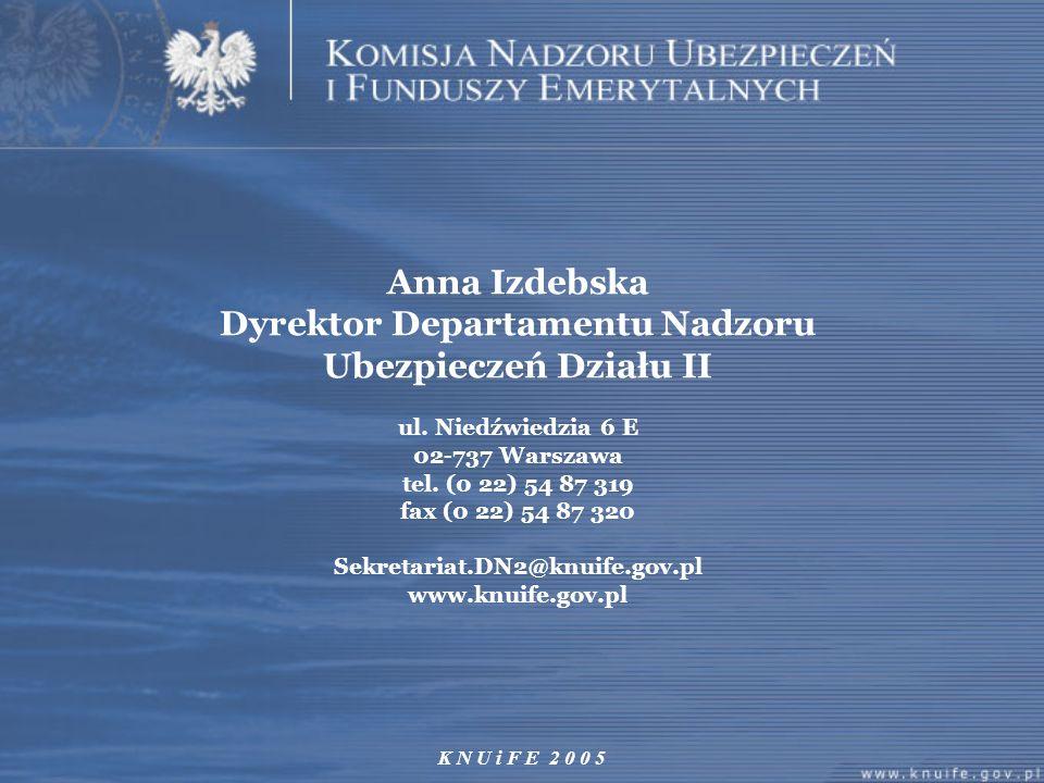 K N U i F E 2 0 0 5 Anna Izdebska Dyrektor Departamentu Nadzoru Ubezpieczeń Działu II ul. Niedźwiedzia 6 E 02-737 Warszawa tel. (0 22) 54 87 319 fax (
