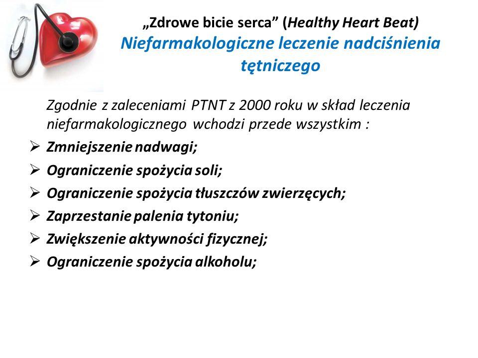 Zdrowe bicie serca (Healthy Heart Beat) Niefarmakologiczne leczenie nadciśnienia tętniczego Zgodnie z zaleceniami PTNT z 2000 roku w skład leczenia ni