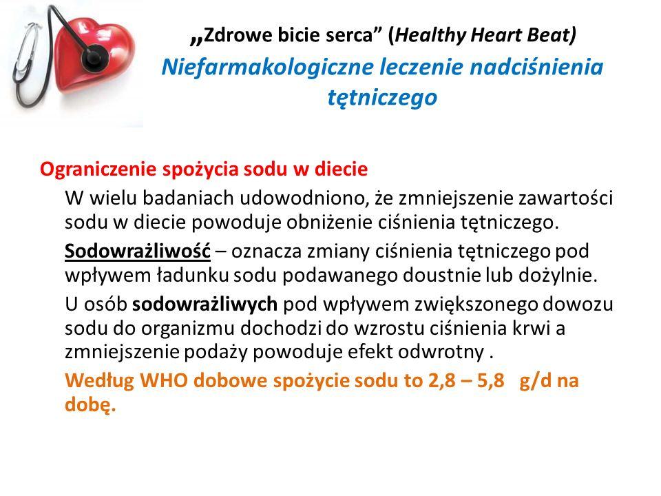 Zdrowe bicie serca (Healthy Heart Beat) Niefarmakologiczne leczenie nadciśnienia tętniczego Ograniczenie spożycia sodu w diecie W wielu badaniach udow
