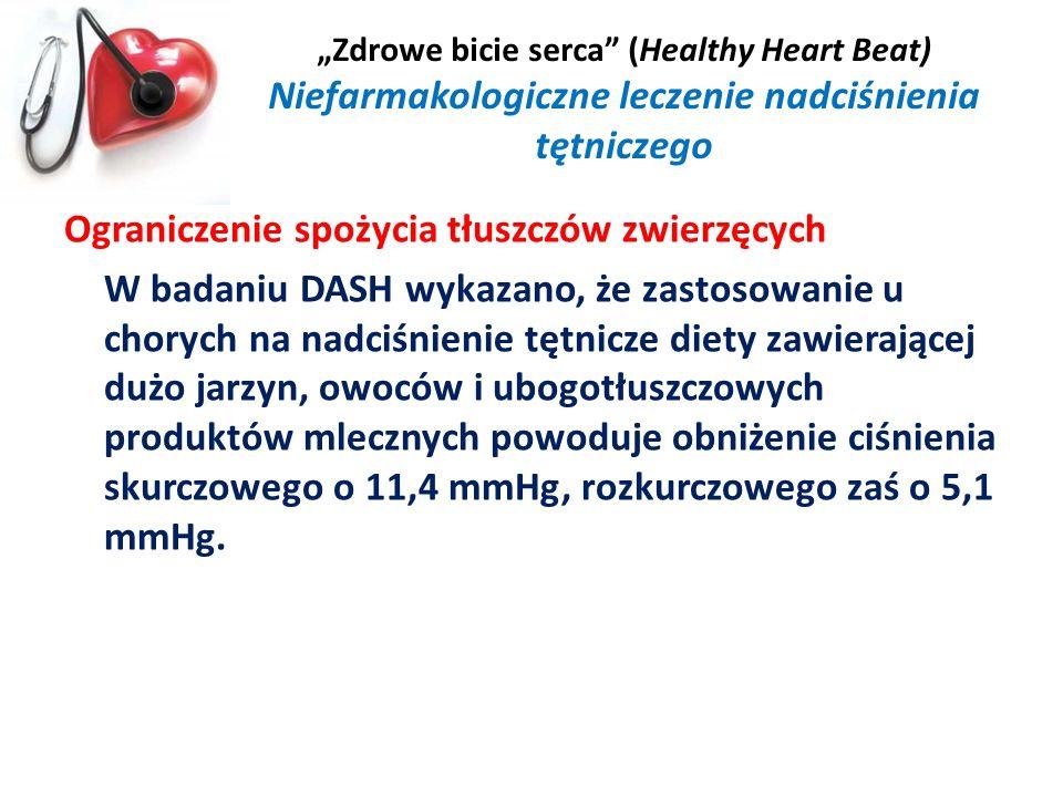 Zdrowe bicie serca (Healthy Heart Beat) Niefarmakologiczne leczenie nadciśnienia tętniczego Ograniczenie spożycia tłuszczów zwierzęcych W badaniu DASH
