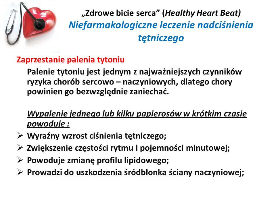 Zdrowe bicie serca (Healthy Heart Beat) Niefarmakologiczne leczenie nadciśnienia tętniczego Zaprzestanie palenia tytoniu Palenie tytoniu jest jednym z