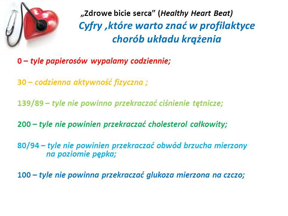 Zdrowe bicie serca (Healthy Heart Beat) Cyfry,które warto znać w profilaktyce chorób układu krążenia 0 – tyle papierosów wypalamy codziennie; 30 – cod