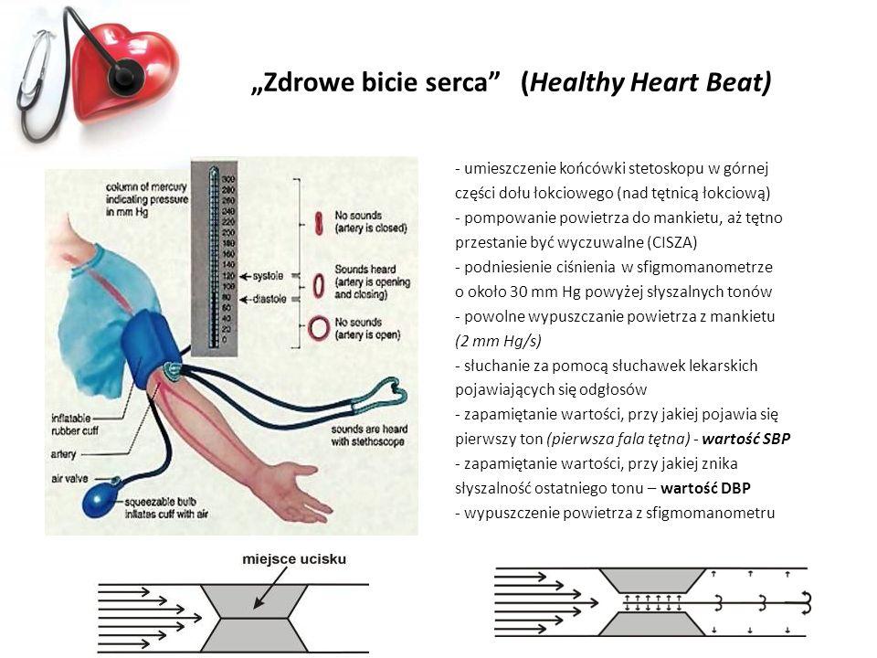 Zdrowe bicie serca (Healthy Heart Beat) - umieszczenie końcówki stetoskopu w górnej części dołu łokciowego (nad tętnicą łokciową) - pompowanie powietr