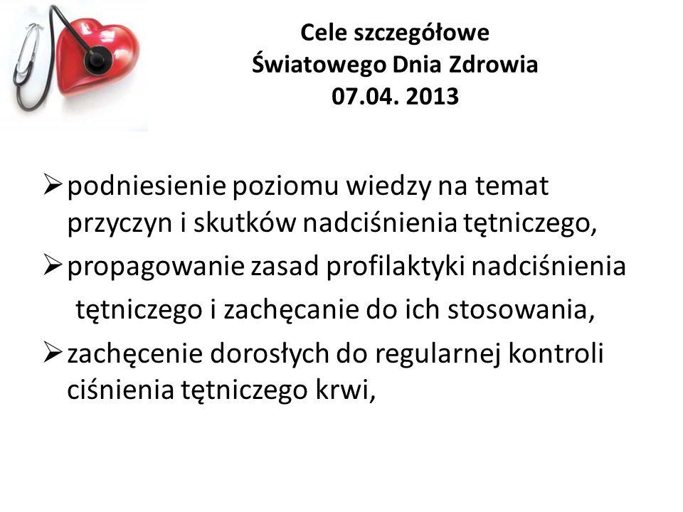 Cele szczegółowe Światowego Dnia Zdrowia 07.04. 2013 podniesienie poziomu wiedzy na temat przyczyn i skutków nadciśnienia tętniczego, propagowanie zas