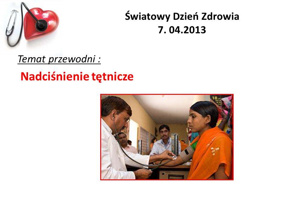 Światowy Dzień Zdrowia 7. 04.2013 Temat przewodni : Nadciśnienie tętnicze