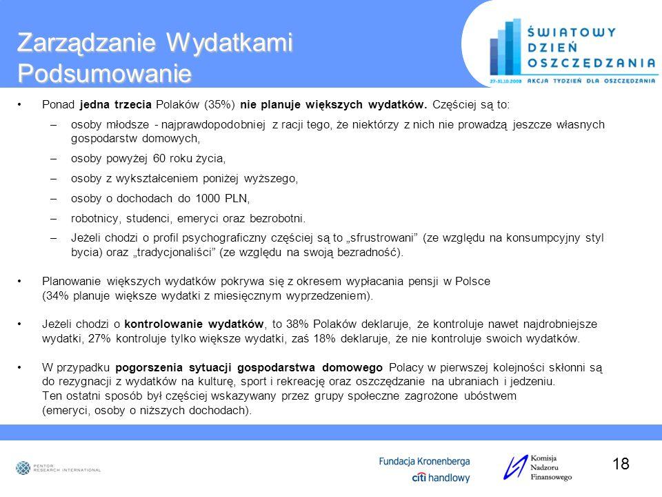 Zarządzanie Wydatkami Podsumowanie Ponad jedna trzecia Polaków (35%) nie planuje większych wydatków. Częściej są to: –osoby młodsze - najprawdopodobni