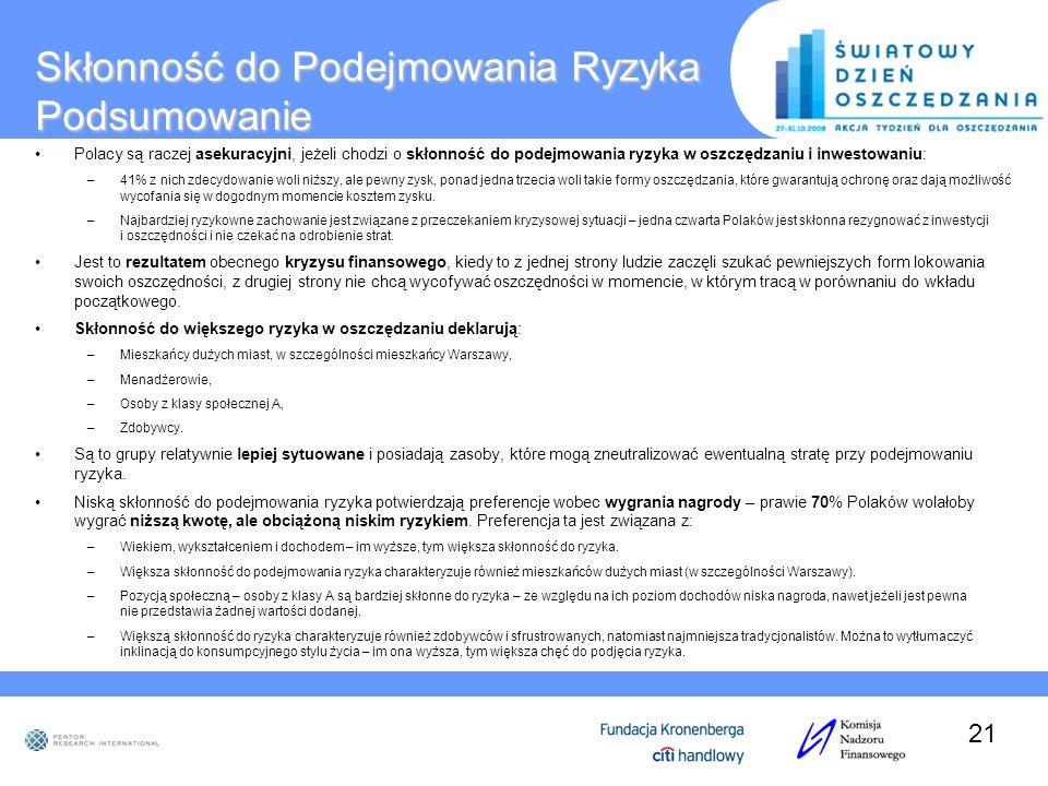 Skłonność do Podejmowania Ryzyka Podsumowanie Polacy są raczej asekuracyjni, jeżeli chodzi o skłonność do podejmowania ryzyka w oszczędzaniu i inwesto