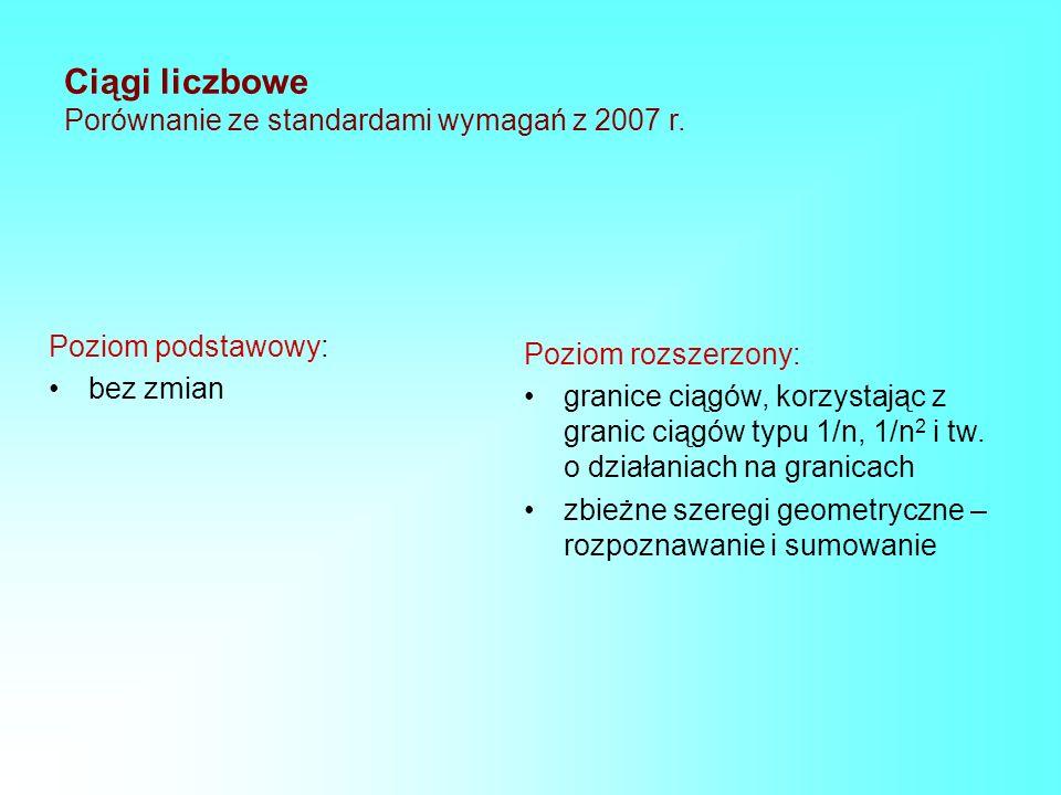 Ciągi liczbowe Porównanie ze standardami wymagań z 2007 r. Poziom podstawowy: bez zmian Poziom rozszerzony: granice ciągów, korzystając z granic ciągó