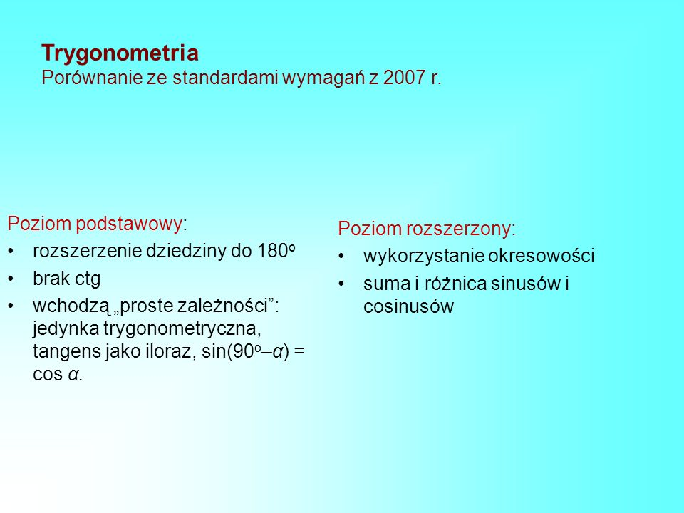 Trygonometria Porównanie ze standardami wymagań z 2007 r. Poziom podstawowy: rozszerzenie dziedziny do 180 o brak ctg wchodzą proste zależności: jedyn