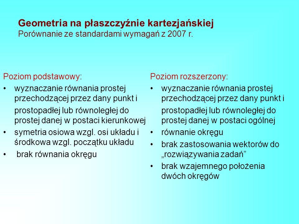 Geometria na płaszczyźnie kartezjańskiej Porównanie ze standardami wymagań z 2007 r. Poziom podstawowy: wyznaczanie równania prostej przechodzącej prz