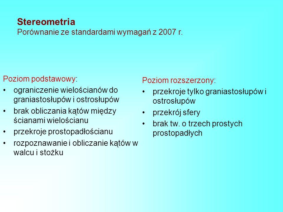 Stereometria Porównanie ze standardami wymagań z 2007 r. Poziom podstawowy: ograniczenie wielościanów do graniastosłupów i ostrosłupów brak obliczania