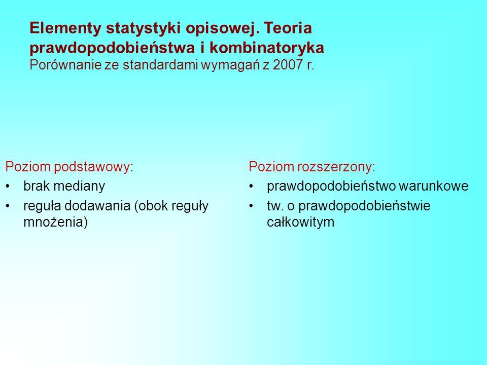 Elementy statystyki opisowej. Teoria prawdopodobieństwa i kombinatoryka Porównanie ze standardami wymagań z 2007 r. Poziom podstawowy: brak mediany re