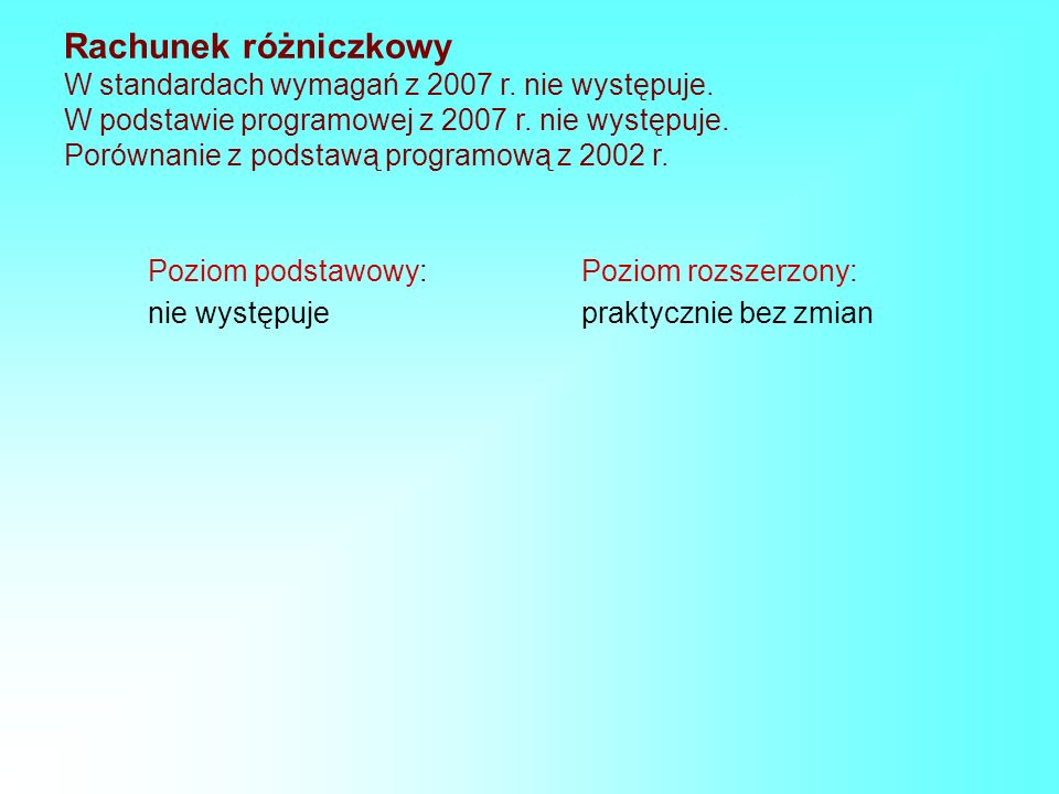 Rachunek różniczkowy W standardach wymagań z 2007 r. nie występuje. W podstawie programowej z 2007 r. nie występuje. Porównanie z podstawą programową