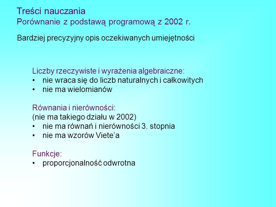Treści nauczania Porównanie z podstawą programową z 2002 r. Liczby rzeczywiste i wyrażenia algebraiczne: nie wraca się do liczb naturalnych i całkowit