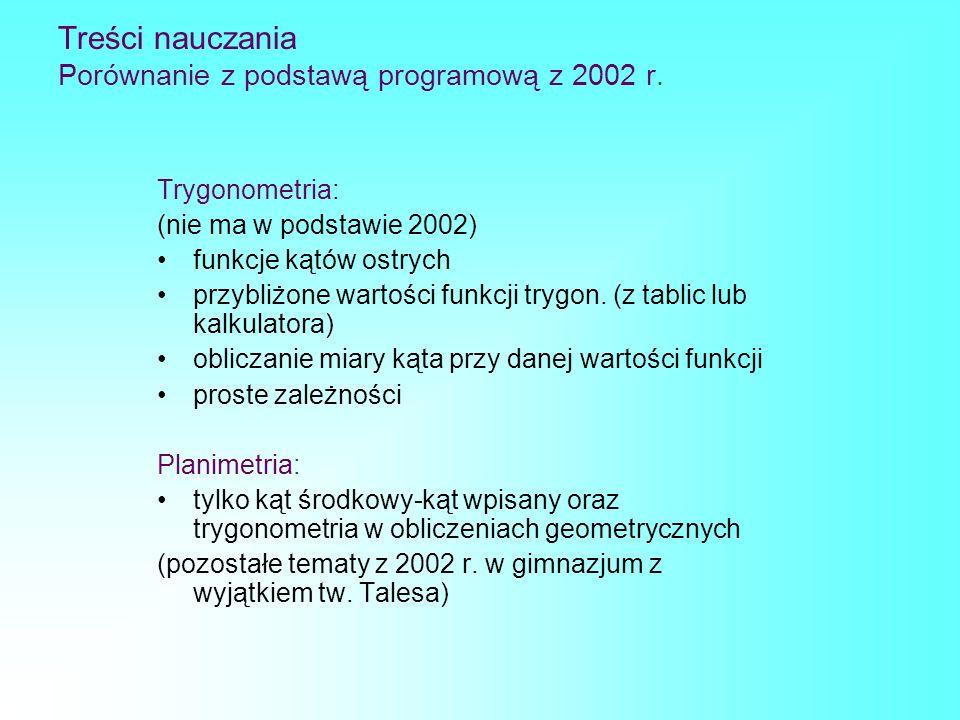 Treści nauczania Porównanie z podstawą programową z 2002 r. Trygonometria: (nie ma w podstawie 2002) funkcje kątów ostrych przybliżone wartości funkcj