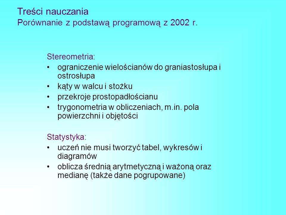 Treści nauczania Porównanie z podstawą programową z 2002 r. Stereometria: ograniczenie wielościanów do graniastosłupa i ostrosłupa kąty w walcu i stoż