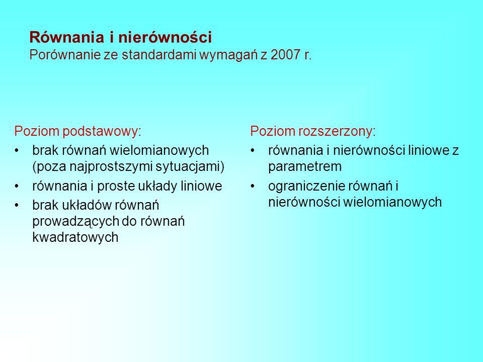 Równania i nierówności Porównanie ze standardami wymagań z 2007 r. Poziom podstawowy: brak równań wielomianowych (poza najprostszymi sytuacjami) równa
