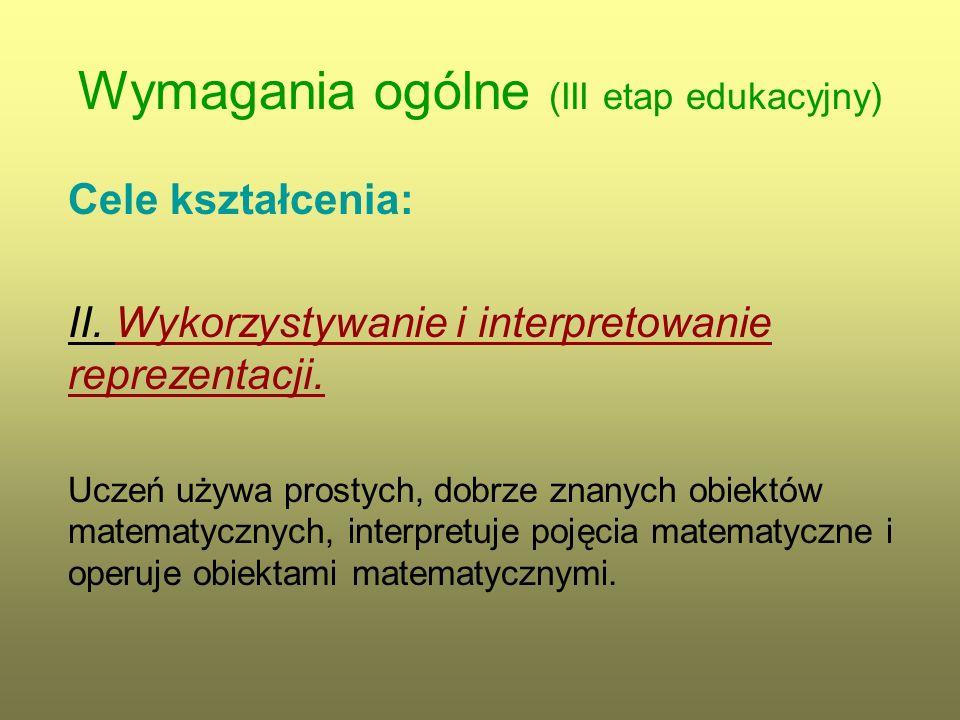 Wymagania ogólne (III etap edukacyjny) Cele kształcenia: III.