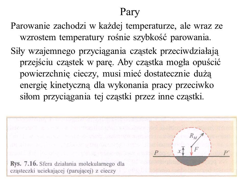 Pary Parowanie zachodzi w każdej temperaturze, ale wraz ze wzrostem temperatury rośnie szybkość parowania. Siły wzajemnego przyciągania cząstek przeci