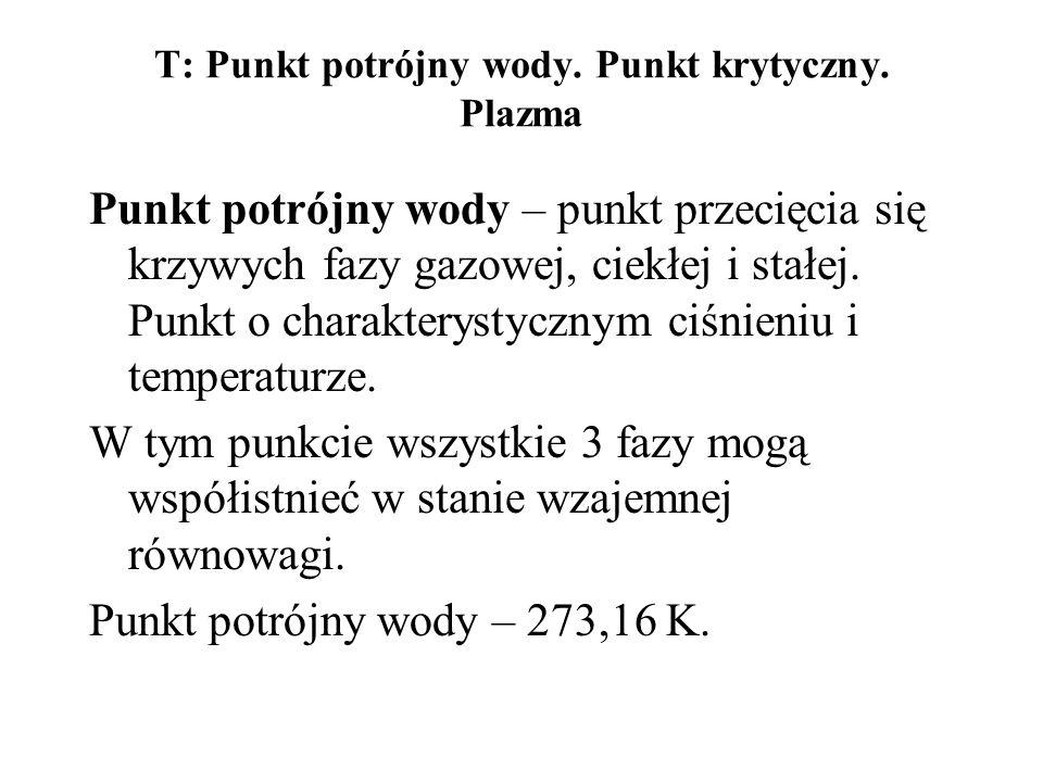 T: Punkt potrójny wody. Punkt krytyczny. Plazma Punkt potrójny wody – punkt przecięcia się krzywych fazy gazowej, ciekłej i stałej. Punkt o charaktery