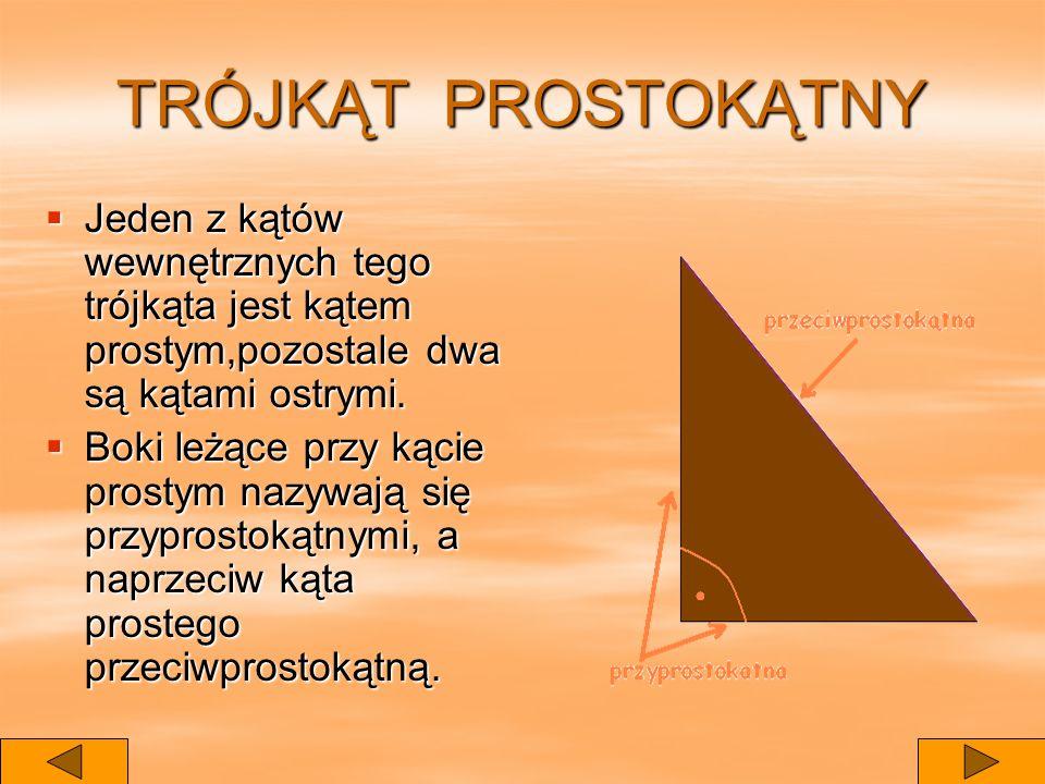 TRÓJKĄT PROSTOKĄTNY Jeden z kątów wewnętrznych tego trójkąta jest kątem prostym,pozostale dwa są kątami ostrymi.