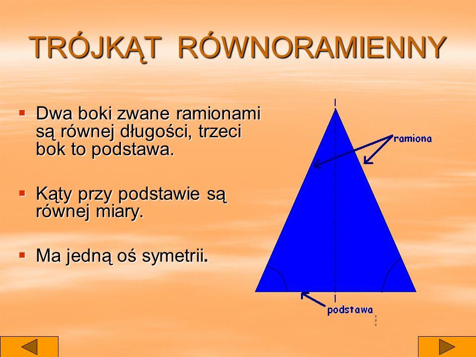 TRÓJKĄT RÓWNORAMIENNY Dwa boki zwane ramionami są równej długości, trzeci bok to podstawa.