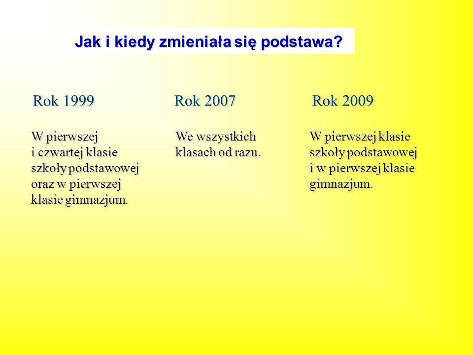 Jak i kiedy zmieniała się podstawa? Rok 1999 Rok 2007 Rok 2009 We wszystkich klasach od razu. W pierwszej i czwartej klasie szkoły podstawowej oraz w