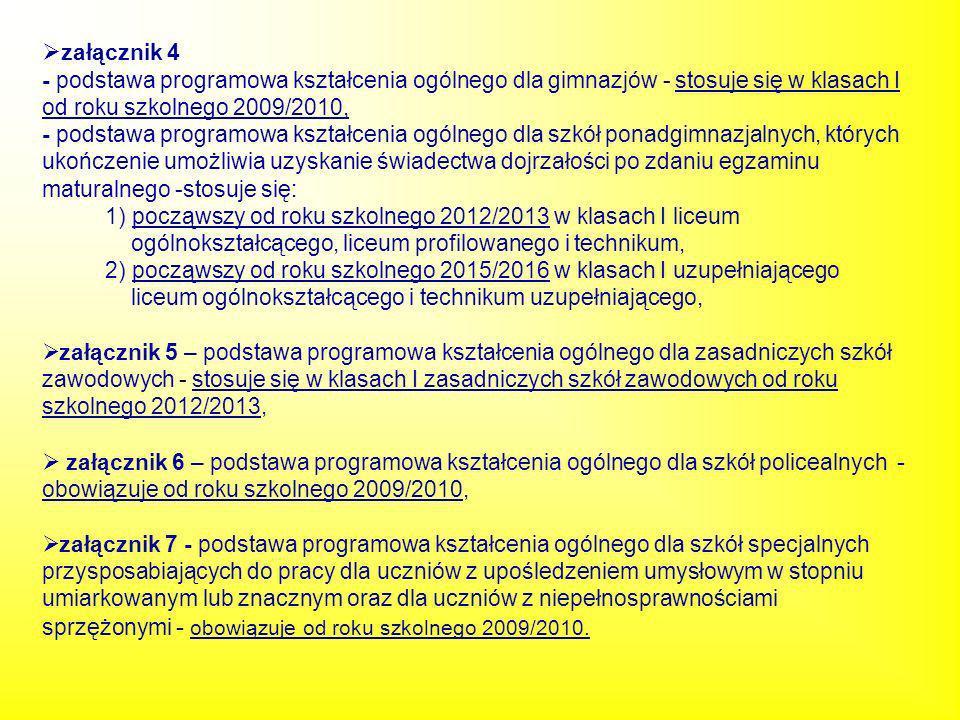 załącznik 4 - podstawa programowa kształcenia ogólnego dla gimnazjów - stosuje się w klasach I od roku szkolnego 2009/2010, - podstawa programowa kszt