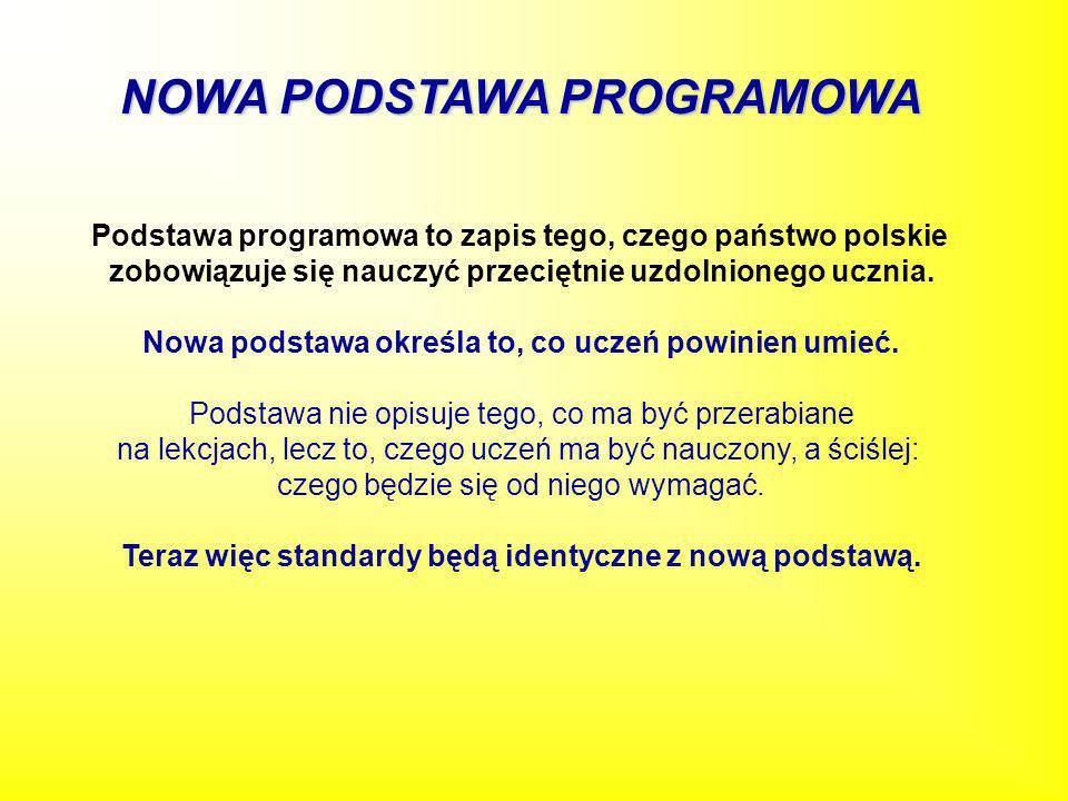 NOWA PODSTAWA PROGRAMOWA Podstawa programowa to zapis tego, czego państwo polskie zobowiązuje się nauczyć przeciętnie uzdolnionego ucznia. Nowa podsta