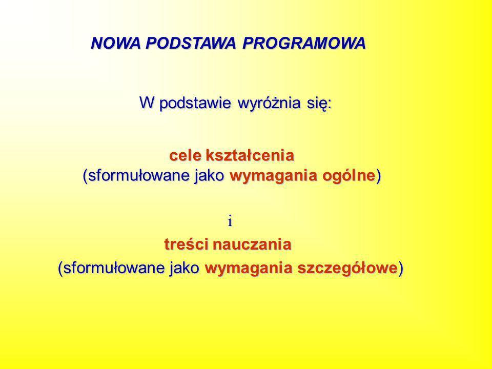 W podstawie wyróżnia się: cele kształcenia (sformułowane jako wymagania ogólne) i treści nauczania (sformułowane jako wymagania szczegółowe) NOWA PODS