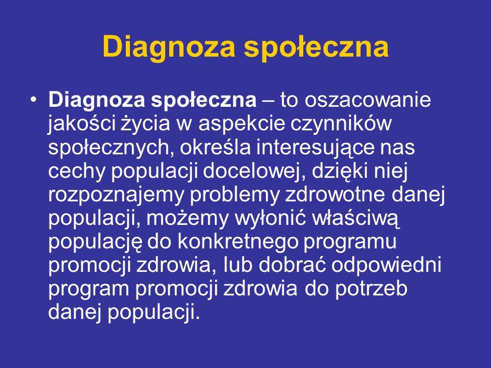 Diagnoza społeczna Diagnoza społeczna – to oszacowanie jakości życia w aspekcie czynników społecznych, określa interesujące nas cechy populacji docelo