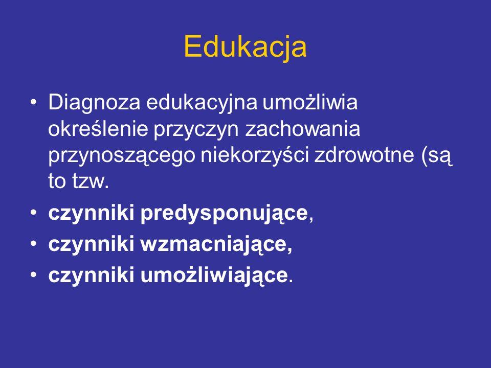 Edukacja Diagnoza edukacyjna umożliwia określenie przyczyn zachowania przynoszącego niekorzyści zdrowotne (są to tzw. czynniki predysponujące, czynnik