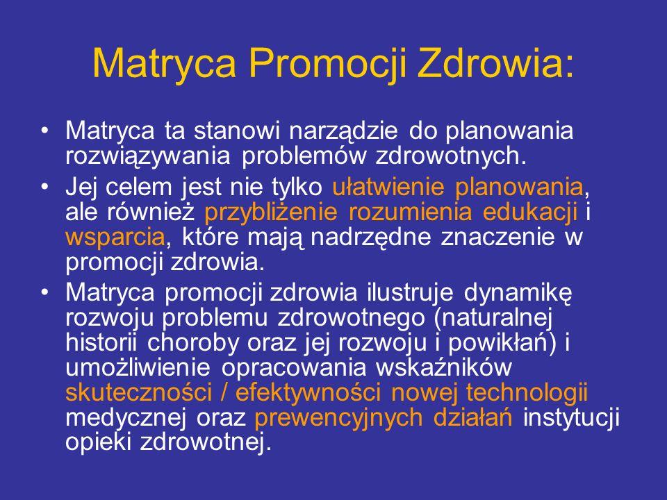 Matryca Promocji Zdrowia: Matrycę podzielono na 4 obszary: 1.Zdrowie Pozytywne, działania mające na celu ogólne wzmocnienie zdrowia jednostki poprzez: systematyczny trening fizyczny, podniesienie wydolności fizycznej itd.