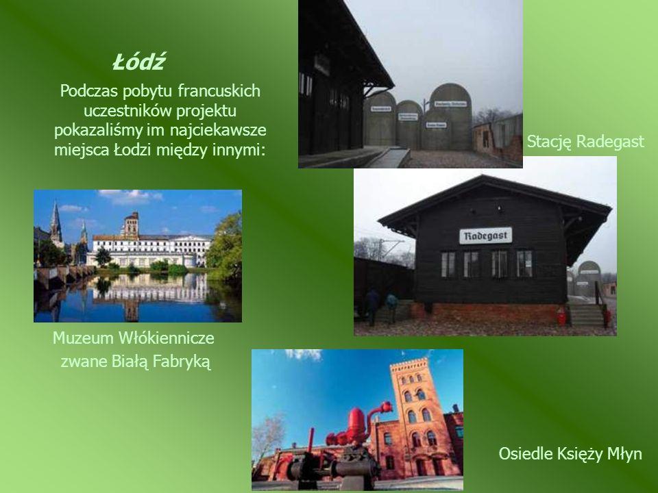 Łódź Podczas pobytu francuskich uczestników projektu pokazaliśmy im najciekawsze miejsca Łodzi między innymi: Stację Radegast Osiedle Księży Młyn Muze