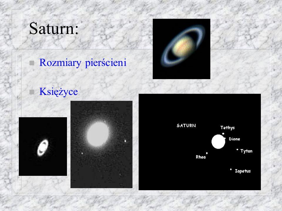Masa Jowisza: n Wykres odległości satelity od Jowisza n III Prawo Keplera układu satelita-Jowisz (indeks: J S ) n dla układu Ziemia- Księżyc: ( Z,K ) n Masa Jowisza: (w masach Ziemi)