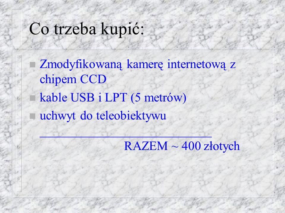 Co trzeba kupić: n Zmodyfikowaną kamerę internetową z chipem CCD n kable USB i LPT (5 metrów) n uchwyt do teleobiektywu ___________________________ RAZEM ~ 400 złotych