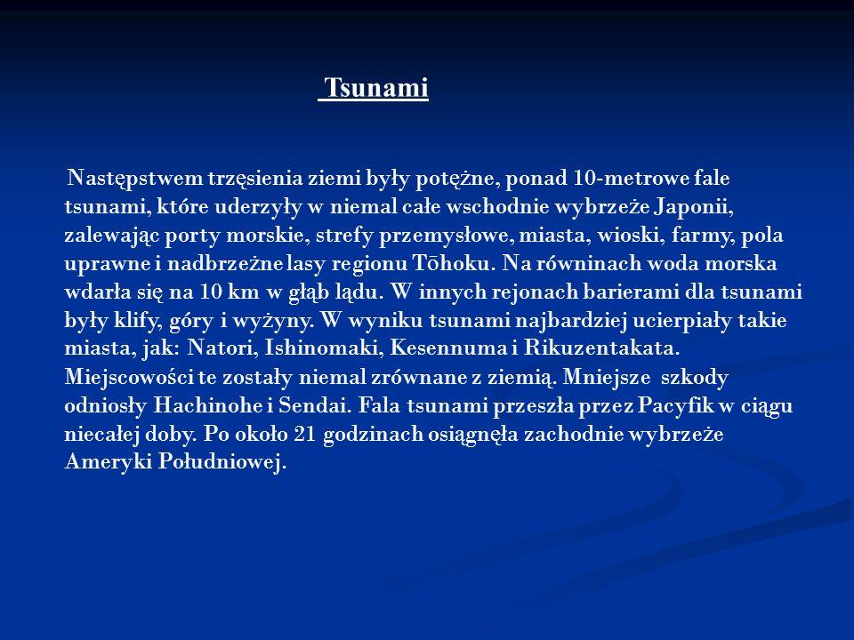 Tsunami Nast ę pstwem trz ę sienia ziemi były pot ęż ne, ponad 10-metrowe fale tsunami, które uderzyły w niemal całe wschodnie wybrze ż e Japonii, zal