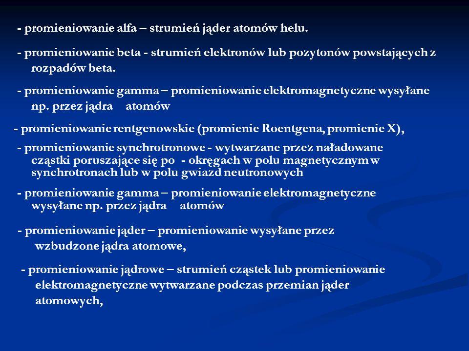 - promieniowanie rentgenowskie (promienie Roentgena, promienie X), - promieniowanie synchrotronowe - wytwarzane przez naładowane cząstki poruszające s