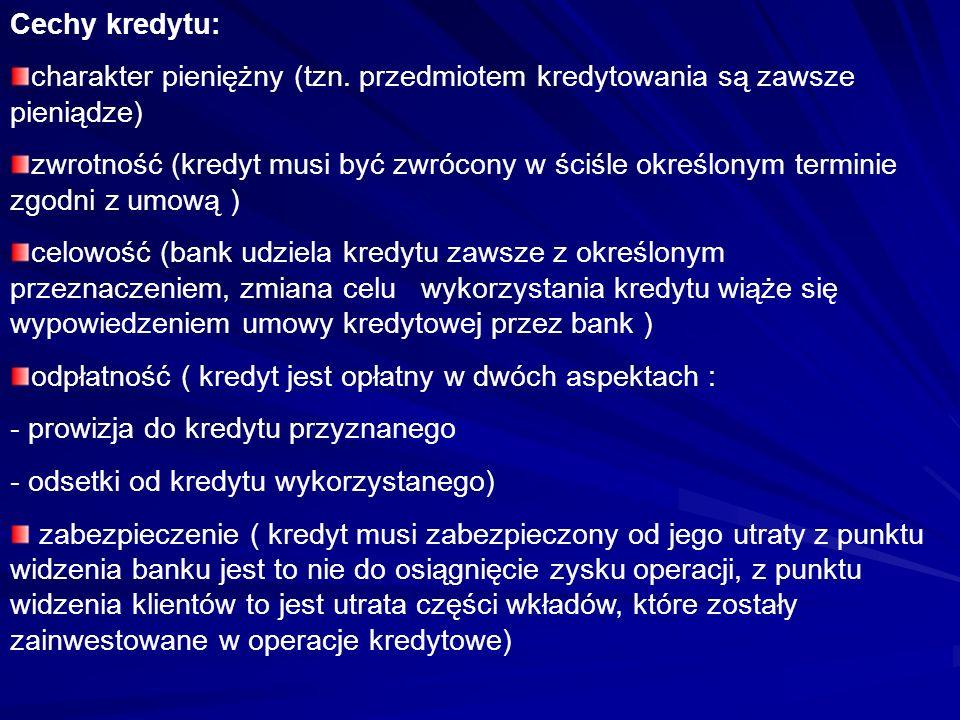 Cechy kredytu: charakter pieniężny (tzn. przedmiotem kredytowania są zawsze pieniądze) zwrotność (kredyt musi być zwrócony w ściśle określonym termini