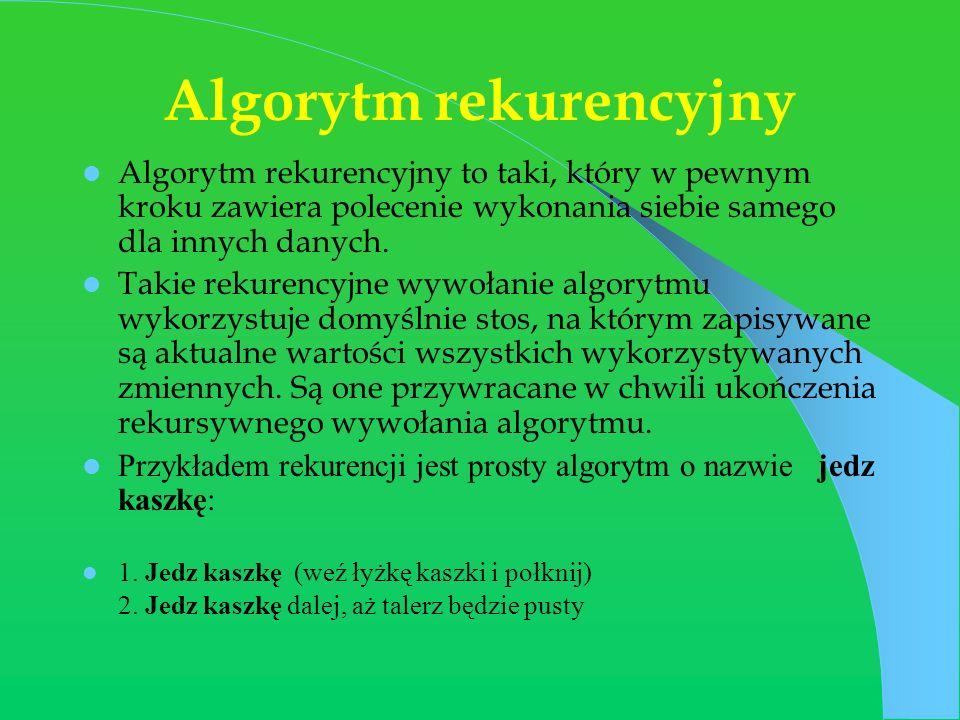 Algorytm rekurencyjny Algorytm rekurencyjny to taki, który w pewnym kroku zawiera polecenie wykonania siebie samego dla innych danych. Takie rekurency