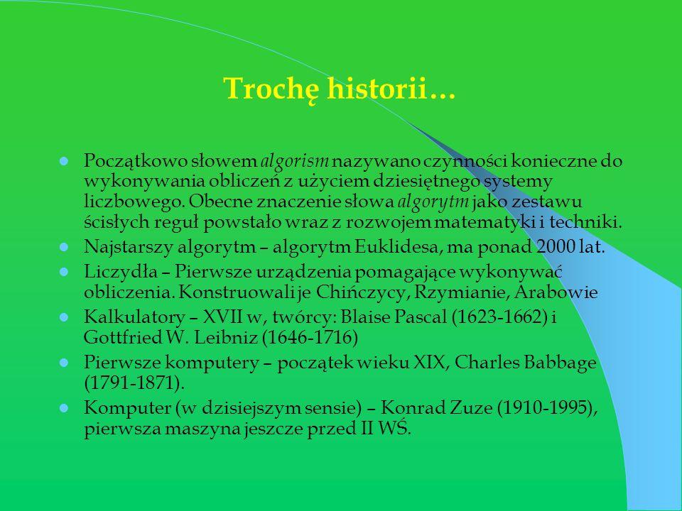 Trochę historii… Początkowo słowem algorism nazywano czynności konieczne do wykonywania obliczeń z użyciem dziesiętnego systemy liczbowego. Obecne zna