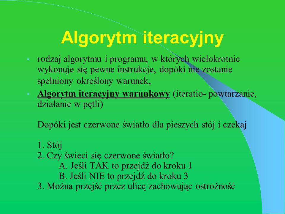 Algorytm iteracyjny rodzaj algorytmu i programu, w których wielokrotnie wykonuje się pewne instrukcje, dopóki nie zostanie spełniony określony warunek