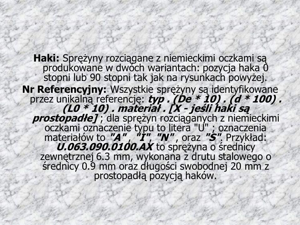 Haki: Sprężyny rozciągane z niemieckimi oczkami są produkowane w dwóch wariantach: pozycja haka 0 stopni lub 90 stopni tak jak na rysunkach powyżej. N