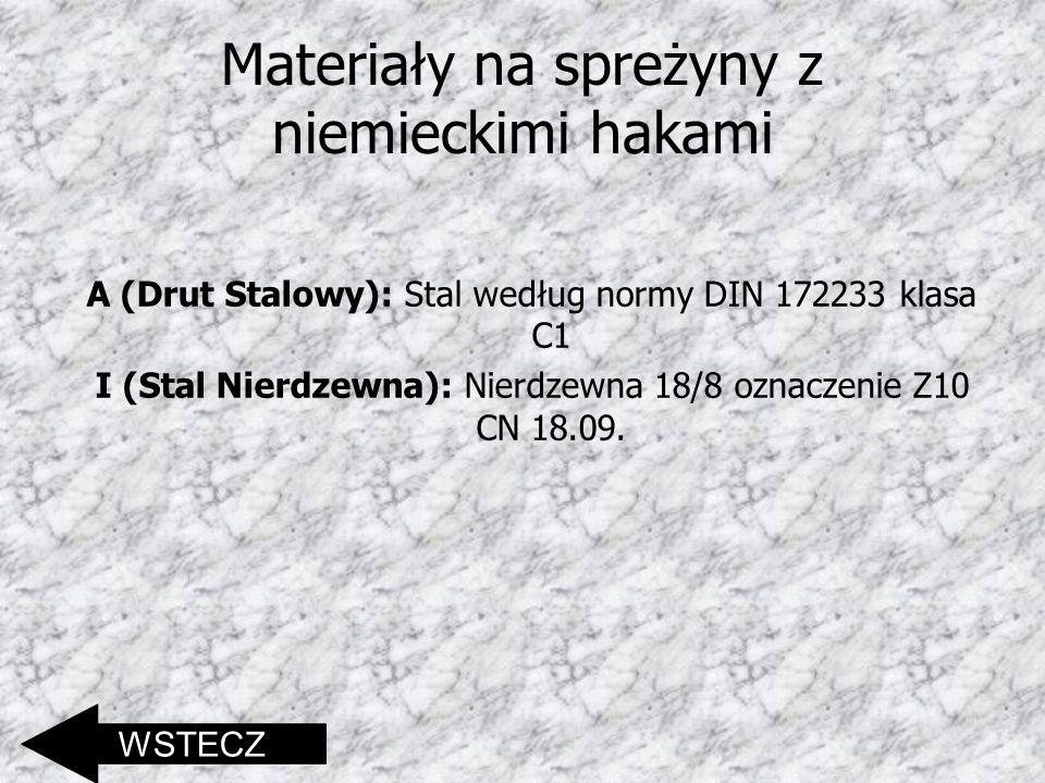 Materiały na spreżyny z niemieckimi hakami A (Drut Stalowy): Stal według normy DIN 172233 klasa C1 I (Stal Nierdzewna): Nierdzewna 18/8 oznaczenie Z10